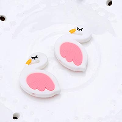 Ladaidra Lovely Mini Flamingo Pattern Baby Silicone Teething Beads Teether BPA Free DIY Pacifier Chain Accessories: Toys & Games