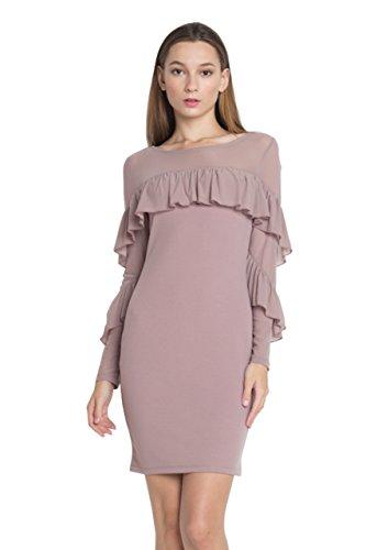 GAAM Women's Mesh Ruffle Long Sleeve Knit Bodycon Mini Dress MOCHA - Ruffle Detail Knit Dress