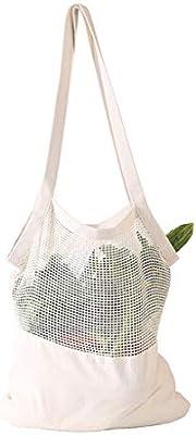 YA-Uzeun - Bolsa de la compra portátil de algodón con costuras de malla, color verde: Amazon.es: Belleza