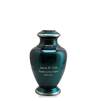 Memorial Gallery Custom Shiny Turquoise Brass Cremation Urn – Can Be Engraved with Your Own Personalization 3 Keepsake, Engraved