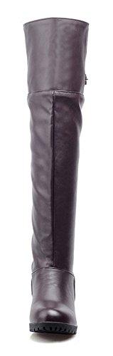 Aisun Reißverschluss Kunstleder Damen Blockabsatz Zehen Runde Stiefel Schnalle Riemchen Langschaft Braun mit rOrxqvSw6