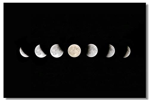 Poster Moon Eclipse Waxing Lunar Phase Solar A Row of Photographs Different Set 4 7 9 Fabric Prints for Room Wall 20x13inch (50x33cm) (004)