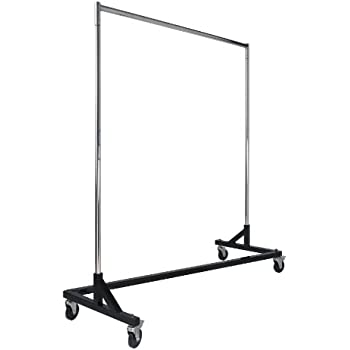 Commercial Garment Rack Z Rack - Rolling Clothes Rack, Z Rack With KD Construction With Durable Square Tubing, Commercial Grade Clothing Rack, Heavy Duty Chrome Commercial Garment Rack