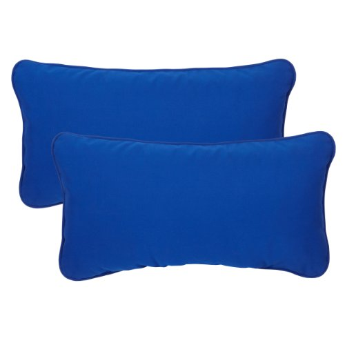 Corded Outdoor Pillows (Mozaic Company Sunbrella Indoor/ Outdoor 12 by 24-inch Corded Pillow, True Blue, Set of 2)