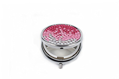 Purely Handmade Gradient Pink Bling Crystal Portable Pill Box Cute Rhinestone Pill Splitter Container Case