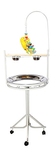 Play Perch - Birds LOVE Stainless Steel Tray, Non-Toxic, Powder Coated Parrot Playstand with Perch, Toy Hook and Stainless Steel Cups - Platinum