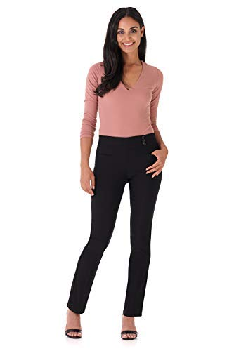 Rekucci Women's Ease Into Comfort Everyday Chic Straight Pant w/Tummy Control and Button Waist Detail (8,Black) -
