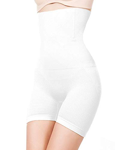 ShaperQueen 102E Best Womens Waist Cincher Body Shaper Trimmer Trainer Slimmer Girdle Faja Bodysuit Short Thong Tummy Belly Control Brief Corset Plus Size High-Waist Shapewear Shorts (XS, White)