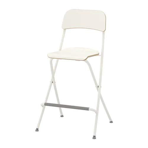 Ikea Franklin - Taburete con Respaldo Plegable, Blanco, Plata C
