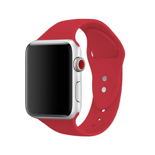 AdMaster Silicone Compatible for Apple Watch Band and Replacement Sport iwatch Accessories Bands Series 3 2 1 Red 38mm S/M