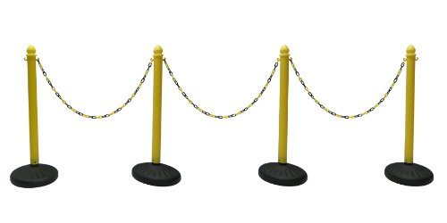 HEAVY DUTY PLASTIC STANCHION 4 PCS SET (YELLOW) + 50' BLACK & YELLOW CHAIN, CROWD CONTROL CENTER -