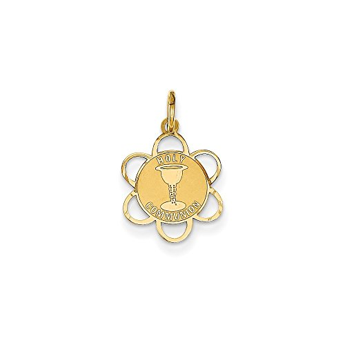 14K Yellow Gold Holy Communion Round Medal Charm Pendant