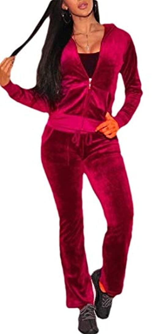 好奇心入植者ブルジョンFly Year-JP Womens Casual Basic Velvet Zip Up Hoodie Sweatsuit Tracksuit Set