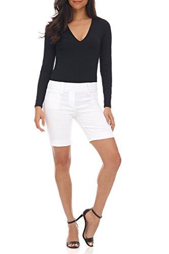 Diamond Womens Shorts - Rekucci Women's Ease Into Comfort Perfection Modern Office Short (4,White Diamond Texture)