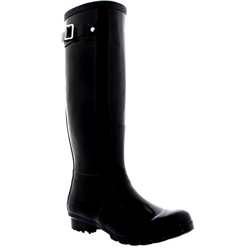 Black CD0007 Womens 7 Boot Wellington Tall Rain Gloss Polar Waterproof Winter 38 Wellie Original OT4vndwqB