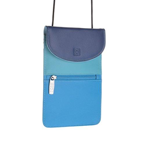 Weiche echtes Leder Passport Halter Tasche Geldbörse mit Innenseite offene Tasche und externe Reißverschluss Tasche für Männer und Frauen - Dunkel und hellblau
