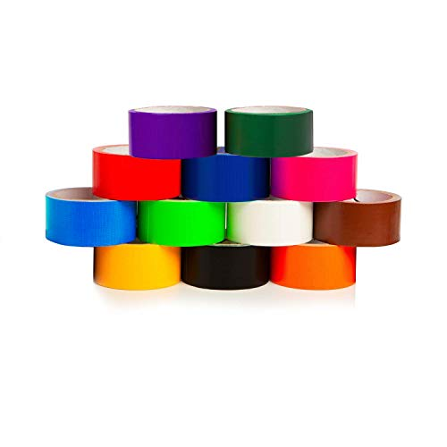 GIFTEXPRESS 12 Assorted Colored Duct Tapes 10 Yards x 2 Inch Rolls,12 Multi Purposes Bright Colors Tapes Great for DIY Art Kit Home School, Colors: Black Navy Purple red Orange -