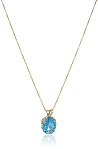 10k Beaded Yellow Gold with Oval Cut Blue Topaz Pendant Necklace, 18