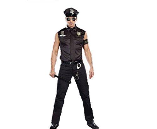 [Mens Sexy Police Uniform Masquerade Cloth Halloween Cop Costume] (Sexy Cop Uniform)