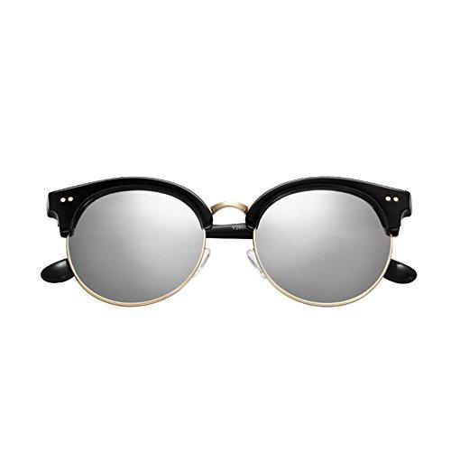 Sol 3 polarizadas DT UV Protección Redondas Gafas para Retro Color de Rostro de Mujer Gafas 1 para Gafas Sol U0CRwqU