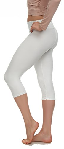 LMB Leggings Capri Length Buttery Soft - Variety of Colors - Yoga Waist - White