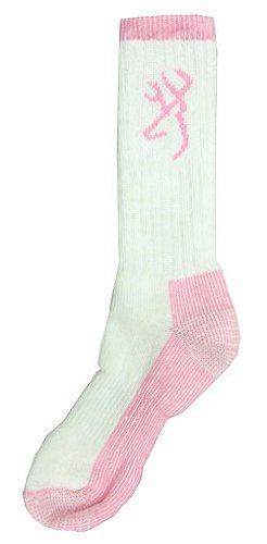 Browning Women's Heavy Wool Boot Sock (White/Pink) (Women's Medium)