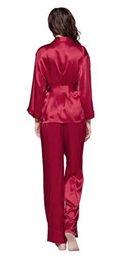 LILYSILK Pijamas Mujeres de Seda Estilo de Bata - 100% Seda de Mora Natural de 22 MM, Super Cómoda y Transpirable Rojo Vino