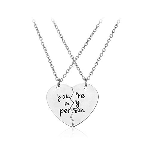 Petals Pendant Lighting - NIHAI Silver Couple Necklace, You are My Person Letter Two-Petal Stitching Love Heart Necklace Pendant Jewelry, Necklace Gift for Women Girls