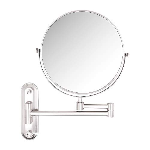 (10X Magnifying Mirror,8 Inch Wall mounted vanity cosmetic mirror,two-sided 360°swivel bathroom makeup mirror with 11.5inch adjustable extension,Brushed)
