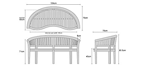 Quality /& Value Curved Wooden Benches with 12cm Deep Scrolled Top Rail Jati Brand Deluxe Teak Banana Bench