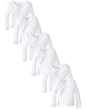 Gerber Unisex-Baby Newborn 6 Pack Long Sleeve Side Snap Mitten Cuffs Shirt