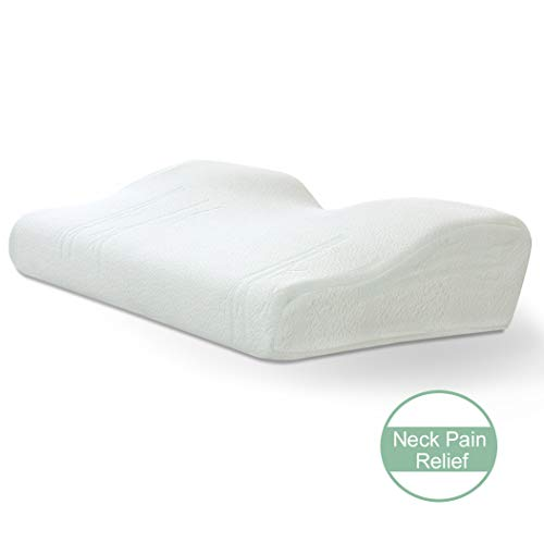 Marine Moon Memory Foam Orthopedic Pillow - Contour Cervical Pillow with Ergonomic Design for Neck Support and Pain Relief with Washable Bamboo Pillowcase, Standard Size, White