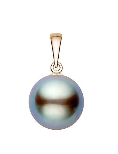 14K Yellow Gold AAAA Quality Light Gray Tahitian Cultured Pearl Pendant (10-11mm)