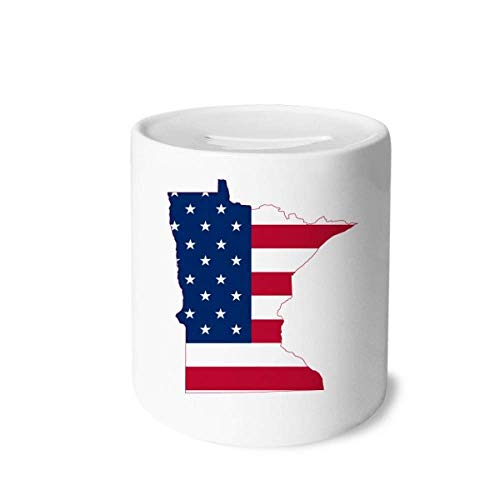 DIYthinker Minnesota USA Map Stars Stripes Flag Shape Money Box Saving Banks Ceramic Coin Case Kids Adults