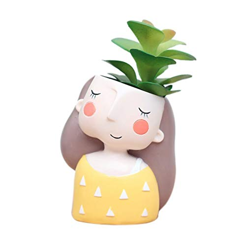 Youfui Cute Girl Cartoon Flowerpot Animal Resin Succulent Planter Desk Mini Ornament Yellow Dress Girl