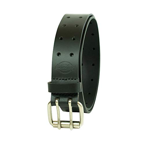 Black harness leather one piece beltwith leather covered buckle fits 29 to 33 inches