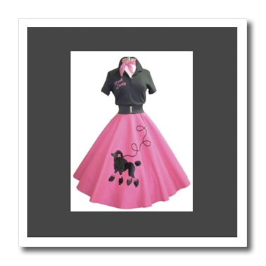 (3dRose ht_37278_3 Retro Pink Poodle Skirt-Iron on Heat Transfer for White Material, 10 by)