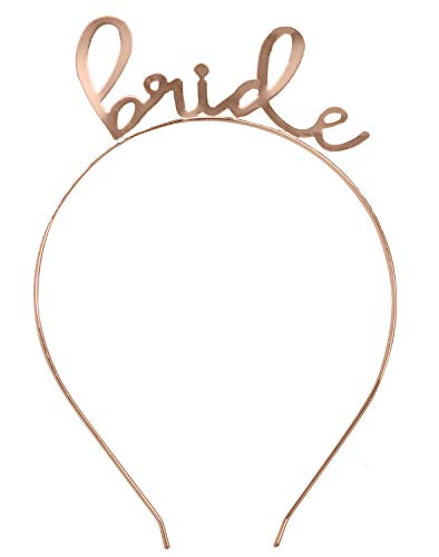 Bride Tiara Headband Rose Gold - Bridal Shower, Bachelorette Party, Wedding Tiara Headband HdBd(Lvly Bride) - Bachelorette Headband