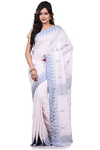 (Bengal Handloom Saree Women's Pure 100 Count Cotton Azo Free Dye Size White)