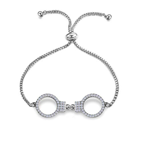 (HOLLP Simple Handcuff Bracelet Best Friends Jewelry Gift Crystal Handcuff Adjustable Chain Bracelet Gift for Sister Friend)