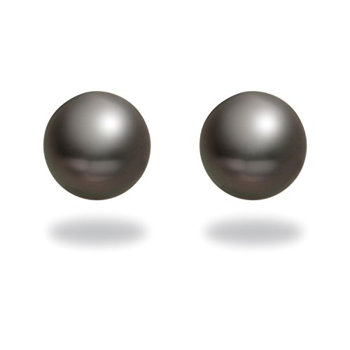 TARA Pearls ''Classic Collection'' 18k White Gold Natural Color Black Tahitian Cultured Pearl Stud Earrings, 8-9mm by TARA Pearls