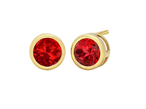 14k Yellow Gold 6mm Created Ruby Round Bezel Gemstone Stud Earrings