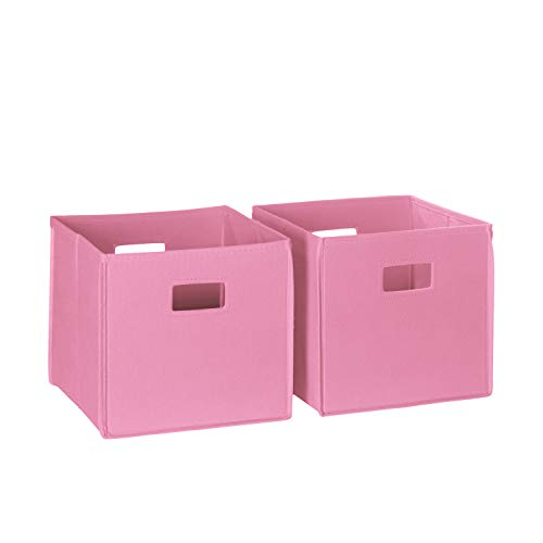 RiverRidge 02-104 2-Piece Folding Storage Bin, Pink -