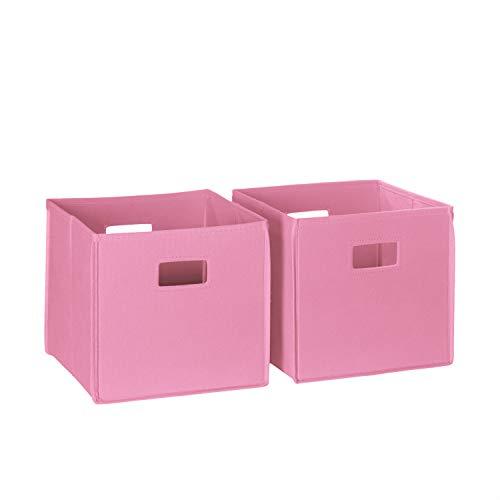 RiverRidge 02-104 2-Piece Folding Storage Bin, Pink