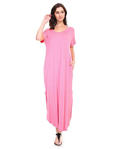 - Isaac Liev Short Sleeve Maxi Dress with Pockets Loose Casual Long Dress with Scoop Neck, Splits & Side Pockets (Large, Mauve)
