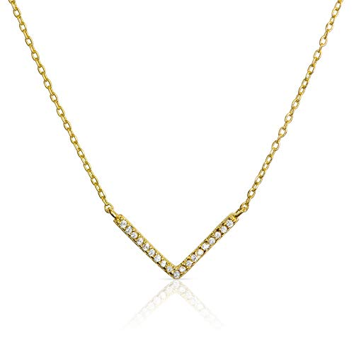 Benevolence LA Gold Necklaces for Women - Celebrity Endorsed Chevron Necklace V for Women Pendant Necklace Chain Fashion Jewelry for Women Necklace Gold Womens Everyday Teens Girl - 14k Gold Chevron