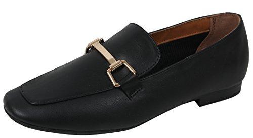Stad Geclassificeerde Dames Gold Tone Horsebit Loafer Lage Hak Sandaal Zwart