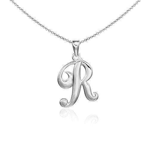 (Sea of Ice Sterling Silver Initial Alphabet Letters R Pendant Necklace, 18 inch)