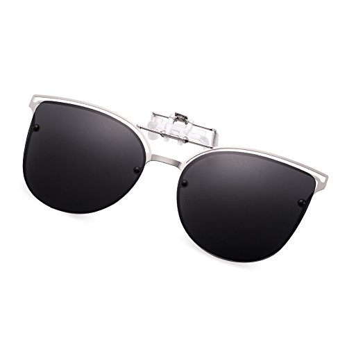 WELUK Polarized Clip-on Flip up Cat Eye Sunglasses Metal Frame for Prescription ()
