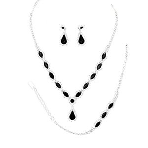 Christina Collection Affordable Wedding Jewelry Clear Oval Teardrop Rhinestone Elegant Drop Set Earrings Necklace Set